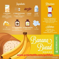 Finally! A delicious, nutritious banana bread recipe you can enjoy… guilt-free! Try this Banana Bread Herbalife Shake and share your thoughts! #LoveMyShake