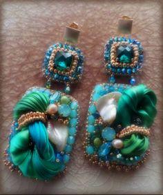EARRINGS: bead embroidery and shibori silk --- design by Serena Di Mercione