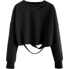 Black Drop Shoulder Cut Out Crop T-shirt ($7.99) ❤ liked on Polyvore featuring tops, black, long sleeve cutout top, stretchy tops, crop top, stretch top and cutout tops