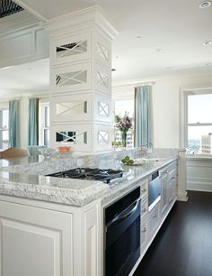 The Granite Gurus: Whiteout Wednesday: 5 White Kitchens with Granite Countertops. Kashmir White Granite.