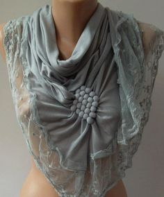 Grey / Elegance  Shawl / Scarf with Lacy Edge by womann on Etsy, $19.90
