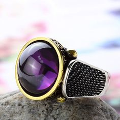 Men Ring 925 Sterling Silver Purple Quartz Mens Ring 10.5 US size #Mensring #Silverjewelry