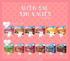Not all of the Alpen Bars can be used as a healthy B choice. This is a handy graphic to show the syn values of the most popular Alpen bars. astuce recette minceur girl world world recipes world snacks Slimming World Healthy Extras, Slimming World Shopping List, Slimming World Sweets, Slimming World Syns List, Slimming World Survival, Slimming World Syn Values, Slimming World Breakfast, Slimming World Recipes Syn Free, Slimming World Plan