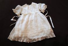 Handmade French Vintage Dress for Baby with Hand Embroidery This is a very lovely French small childs dress probably dating from about 1930s. I think this dress is suitable for an average baby of about 6 to 18 months or so depending on body type. This lovely dress is Entirely
