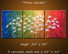 Arte de la gran pared / flores arco iris ORIGINAL pintura abstracta pintura Floral moderna / Extra grande arte Floral decoración de pared por AmyGiacomelli