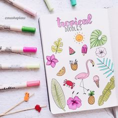 33 tropical inspired bullet journal spreads - Idee di Tendenza Dessin Creative e Pregai o Evangelho ? Bullet Journal Month, Bullet Journal Notebook, Bullet Journal Ideas Pages, Bullet Journal Spread, Bullet Journal Inspiration, Bullet Journal Vacation, Doodle Drawings, Doodle Art, Bibel Journal