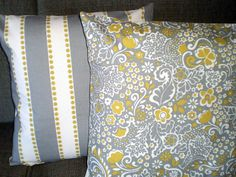 Decorative Pillows Accent Pillows Throw Pillow Covers Gray Natural Citrine Floral Jen and Lu Lu Stripe - Pair of Two 18 x 18. $30.00, via Etsy.