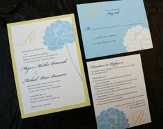 baby blue and yellow wedding invitations - Google Search