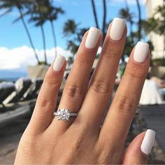 White nail art is increasingly popular and looks great with any skin tone. Check out the best design ideas for 2020 here White Short Nails, White Acrylic Nails, Summer Acrylic Nails, Best Acrylic Nails, Matte White Nails, Short Square Acrylic Nails, Acrylic Toes, White Acrylics, Nail Ring