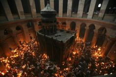 Church of Holy Sepulchre During a Holy Fire Ceremony in Jerusalem's Old City