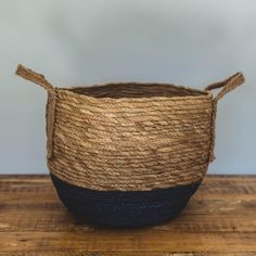 Natural and Blue Bottom Basket with Hemp Handle Natural Materials, Hemp, Basket, Handle, Bedroom, House, Home, Bedrooms, Homes