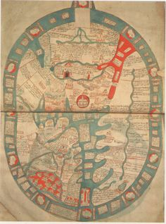 MAPPA MUNDI di HIGDEN dell'Abbazia di Ramsey. Stamford (?), 1350 circa, manoscritto, inchiostro e colore su pergamena, 46 X 34 cm. Londra, The British Library, Royal MS. 14. C.IX, foll. 1v-2. (Barber 2001, p.74)