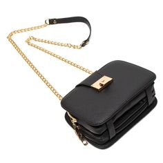 Forestfish Ladies Black PU Leather Shoulder Bag Evening Clutch Purse Crossbody Bag with Metal Chain Strap - Black Black Shoulder Bag, Leather Shoulder Bag, Shoulder Bags, Leather Handle, Pu Leather, Clutch Purse, Purse Crossbody, Black Clutch, Metal Chain