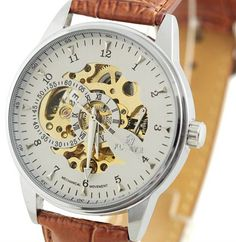 Elegant Mens Brown Leather Watch Automatic por jewelrychain en Etsy, $30.96