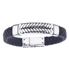 Braided Black Leather Men's Bracelet Stainless Steel AX JEWELRY. $39.99