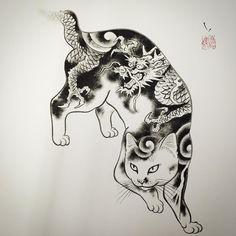 Regardez cette photo Instagram de @horitomo_stateofgrace • 3,392 J'aime cat cats panther black japanese asiatique tattoo tattooed tattoos ink inked