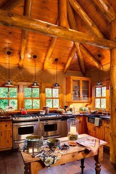 Oh...to have those double stoves/ovens...and in a kitchen that looks like THAT...
