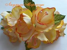 Как сделать мелкие цветы и листочки для заколки!Small flowers and leaves for a hairpin! - YouTube