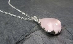 Natural Pink Rose Quartz Cabochon Recycled Sterling by byAngeline, $145.00