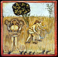 Dettaglio articolo 5480 Majolica tile, copy from Tacuina Sanitatis, hand made by Recuperando srl Italy