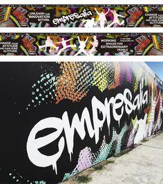 Rotulación del tapial exterior de EMPRESALIA, impresión en vinil autoadherible y diseño de grafitti.