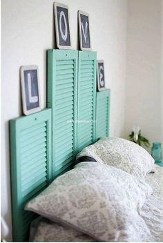 If you have few doors of old windows and you have furnished your home with new design windows then don't make the old one a part of your dustbin, utilize them to make wonderful used windows made bed headboard. This light-green windows headboard is making the whole environment of the room an attractive one.