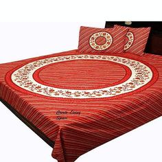 INDIAN TRADITIONAL RED PRINT FLORAL PATTERN BED SHEET WITH 2 PILLOW COVERS