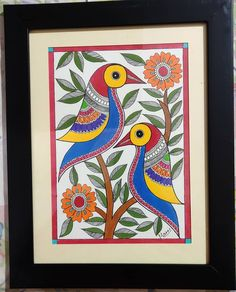 Madhubani Paintings Peacock, Kalamkari Painting, Madhubani Art, Phad Painting, African Art Paintings, Folk Art Flowers, Indian Folk Art, Art Drawings For Kids, Buddha Art