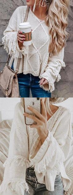 Shop for Light Beige Cut Out Detail Tassel Trim Long Sleeve Knit Sweater Online at $30.99 and discover more Cheap and Fine Sweaters & Cardigans at mynystyle.com