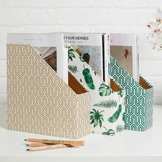 Perfect for magazine storage or to tidy away loose papers, our practical magazine file will make your storage areas tidy and stylish. Ideal for use in a bedroom, study, kitchen or any area that needs to be organised! All our beautiful handmade stationery and storage products are produced in an eco-friendly way, from 100% recycled materials.
