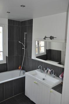1000 images about mes r alisations salle de bains on - Salle de bain grise et blanc ...