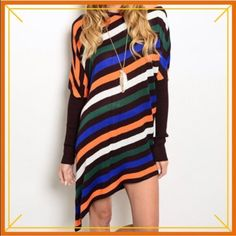 "HP 4/23STRIPED ASYMMETRICAL TUNIC OR MINI Flattering diagonal stripes of blue, orange, green and black. Dolman sleeves with solid black elbow to wrist add a nice color block effect. 50% cotton, 30% viscose, 15% silk, 5% spandex. Length: 28.5/36""                                                         ♦️SMALL: bust 44"" hips/waist 38""                              ♦️LARGE: bust 48"" hips/waist 40"" tla2 Dresses Asymmetrical"