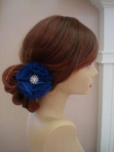 Navy Blue Flower Hair Clip, Hair Clip,Bridal Hair Accessories, Wedding Hair Accessories, Bridesmaid hair Accessories via Etsy