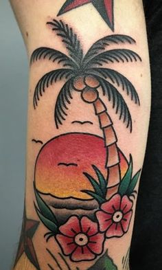 125 Unique Palm Tree Tattoos You'll Need to See - Tattoo Me Now Old School Tattoo Designs, Tattoo Designs Wrist, Tree Tattoo Designs, Traditional Tattoo Tree, Traditional Tattoo Design, Tiki Tattoo, Ancora Old School, Tricep Tattoos, Tree Tattoo Arm