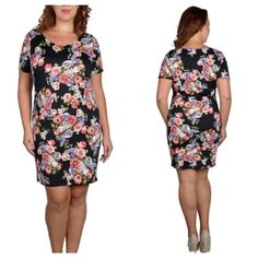 """(plus) Floral dress Floral dress  Measures: 1x: 39"""" long/ 40"""" bust • 2x: 40"""" long/ 42"""" bust  Material: 96% polyester/ 4% spandex  Very stretchy and true to size.  Availability- 1x• 2x • 1•1 Price is firm unless bundled. No trades⭐⭐️This is a retail item. It is brand new either with manufacturers tags, boutique tags, or in original packaging. Boutique Dresses"""