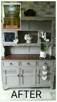 Large welsh dresser painted in Annie Sloan French Linen with dark walnut top.