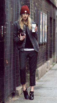 A monochromatic outfit is classic downtown cool.