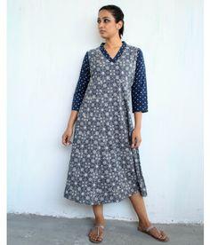 Blue Block-printed Cotton Dress