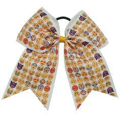 Handmade Ribbon Emoji hair bow. This makes a nice gift for any Emoji lover.