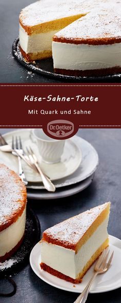 Käse-Sahne-Torte: Festliche Käse-Sahne-Torte mit Quark und Sahne #geburtstag #happybirthday #kuchenzumgeburtstag German Cake, Sweet Bakery, Panes, Yummy Cakes, Vanilla Cake, Food Hacks, Cake Pops, Cheesecake, Cookies