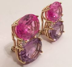 Topaz Amethyst Diamond Gold Grande Gum Drop Earrings | From a unique collection of vintage clip-on earrings at https://www.1stdibs.com/jewelry/earrings/clip-on-earrings/