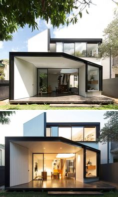 Black frames and patio contrast the white siding and interior of this house extension in Sydney, Australia.