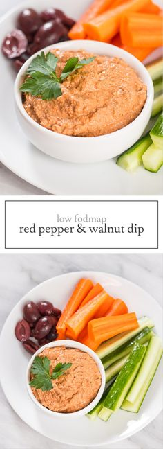 This Low FODMAP Red Pepper and Walnut Dip is based on a yummy Middle Eastern recipe called muhammara. It's delicious served with fresh cut low FODMAP veggies, spread onto grilled chicken or served with low FODMAP toast. | funwithoutfodmaps.com | #lowfodmap #roastedredpepper #vegetarian #plantbased #whole30 #glutenfree
