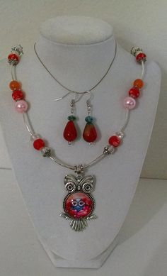Owl Pendant Orange Blue Pink Peach Necklace and 3 pair of Earrings. by MyGrandmasHome on Etsy