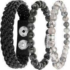 Frank 1967 7FR SET006 Armbanden Set Grijs - 3 Stuks - Leer en Natuursteen - One-size - Grijs Beaded Bracelets, Jewelry, Clock, Seeds, Jewels, Pearl Bracelets, Schmuck, Jewerly, Jewelery