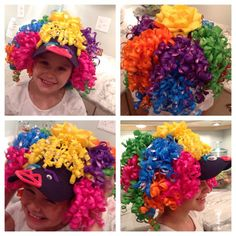Baseball cap, hot glued curling ribbons from the dollar store, made a face out of googly eyes and pipe cleaners Crazy hats! Crazy Hat Day, Crazy Hats, Crazy Socks, Loom Knit Hat, Knitted Hat, Yellow Crafts, Silly Gifts, Mad Hatter Costumes, Wacky Hair