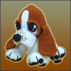 Who can resist those big and tender puppy eyes? Boris is a sweet basset hound pup begging you to feed him lots of treats and love. If you just LOVE basset hounds, this is your chance to crochet your very own puppy with this DeliciousCrochet design :) Crochet Dog Patterns, Amigurumi Patterns, Amigurumi Doll, Hound Puppies, Basset Hound Puppy, Hound Dog, Patron Crochet, Crochet Animals, Crochet Dolls