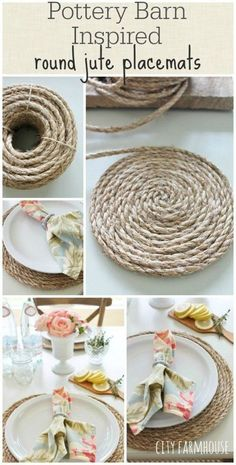 PB Inspired Round Jute Placemats - DIY Pottery Barn Craft Ideas | 34 DIY Pottery Barn Hacks For Design On A Budget by DIY Projects at https://diyprojects.com/diy-projects-pottery-barn-hacks
