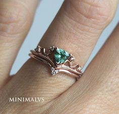 So special! Mint green 5mm tourmaline trillion set. Available in rose gold as it is. Please select option from drop down menu: set or just engagement ring We can also remake this set with other trillion gemstones per request. Available stones: diamonds, moissanites, ruby, sapphire,