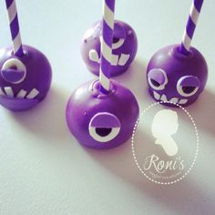purple minion cake pops by ronisugarcreations.com